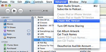Create AAC has moved in iTunes 9.1
