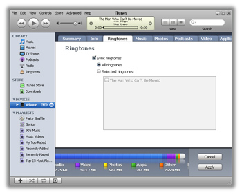 Sync your iPhone with iTunes to transfer the ringtone to your phone